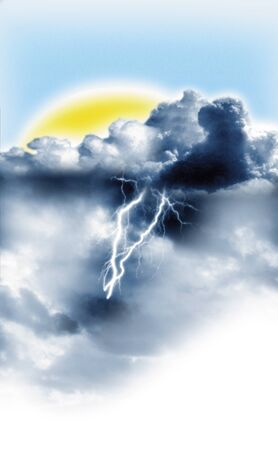 illustration of a Storms and sun at the same time Stock Illustration - 12797796
