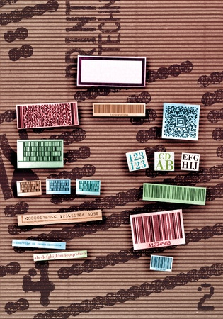 paperboard: Different industrial identifications on paperboard Stock Photo
