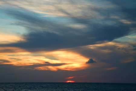Sunset on the Indian Ocean in the Maldives - Embudu island Stock Photo - 12797885