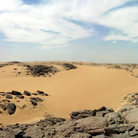 Sandy and deserted landscape in the Libyan desert. photo