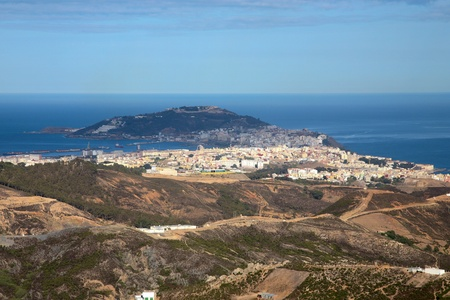 View of the Mediteranean sea from Ceuta. Imagens