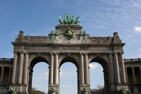 The Triumphal Arch (Arc de Triomphe) in the Cinquantenaire park in Brussels. Built in 1880 for the 50th anniversary of Belgium. Stock Photo - 14198468