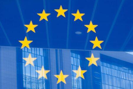 lex: European Union logotype next to the Council of the European Union Building (Lex building) in Brussels Stock Photo