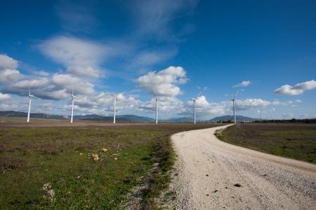 tarifa: Tarifa wind mills with blue sky
