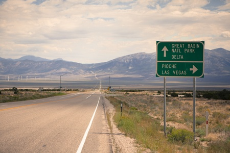Route 50 - the loneliest road in America, Nevada Stock Photo - 17521942