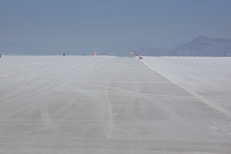 Racing track on the Bonneville Salt Flats in Utah with nobody photo
