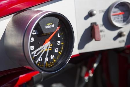 SALT LAKE, UT - SEPTEMBER 8: Detail of a reversed speedometer of an unidentified car during the World of Speed at Bonneville Salt Flats Recreation Area Utah USA, 2012.