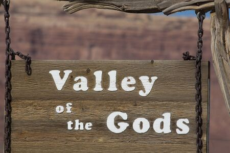 Sign with Valley of the Gods near Monument Valley in southwest Utah.
