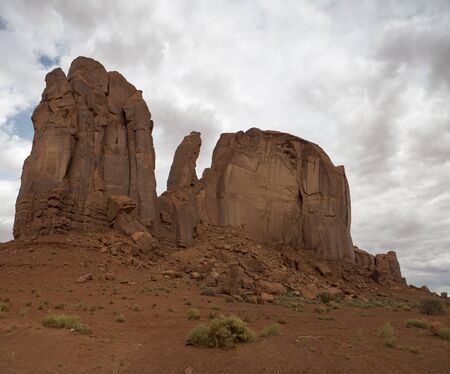 monument valley view: View of monument valley with clouds