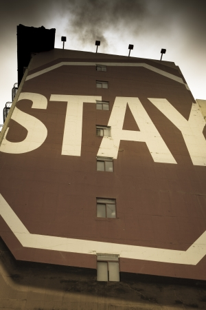 indecisiveness: Vintage style of a sign saying stay in the street of San Francisco, California