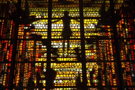bay area: Stained glass at the Cathedral of Saint Mary in San Francisco Stock Photo