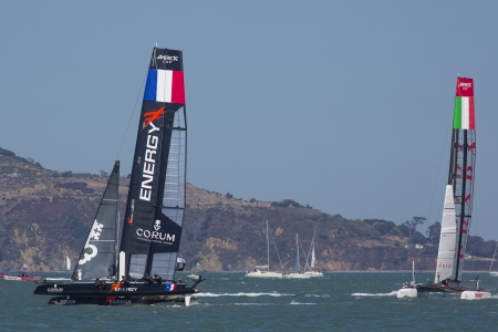 SAN FRANCISCO, CA - AUGUST 26: Italian team tries to overtake the French team in the bay of San Francisco during the final of the Americas Cup 2012.