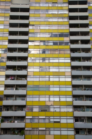 abstract london: Yellow windows facade in the center of London, UK