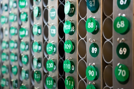 repetition: View of green repeated numbers on a wall in a hotel in San Francisco, United States Stock Photo