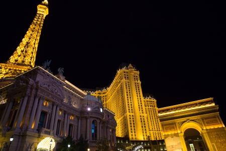 english famous: NEVADA, LAS VEGAS, SEPTEMBER 15  The Paris Casino Hotel at Night with Gordon Ramsay, the famous English Cook restaurant in Las Vegas, Unites States, 12 September 2012  Editorial