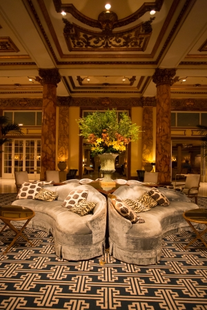 CALIFORNIA, SAN FRANCISCO, AUGUST 26: Detail of the Interior Fairmont Hotel in San Francisco at night in 2012