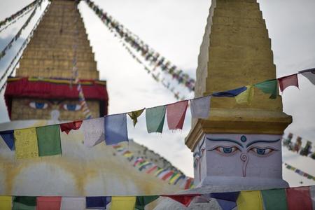 stupa one: Towers of Boudhanath Stupa, one of the main landmark in Kathmandu, Nepal Stock Photo