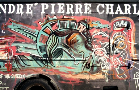 Graffiti on a truck in NY in memory to the terrorism attack after 11 September 2001 in New York