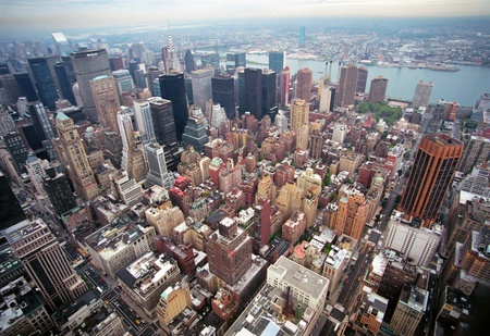 usa cityscape: Aerial view of Manhattan from the Empire State Building New York, Vision of the 80. Editorial