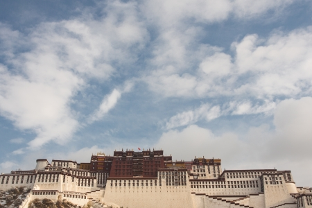 Blue sky in the background and the Potala palace in Lhasa, Tibet