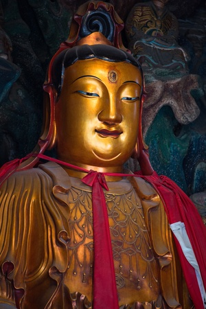 jade buddha temple: Golden buddha at Shanghais Jade Buddha Temple Stock Photo