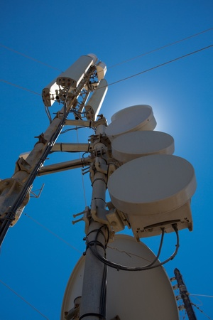 Communication station and equipment and a clear blue sky in Santorini, Greece photo