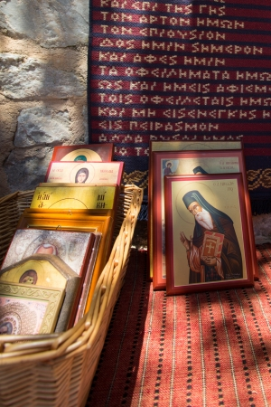 Religious Icons for sale at entrance of a church in Santorini, Greece, Stock Photo - 21445413