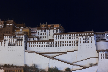 Potala Palace at night , Tibet. The Historic home of the Dalai Lama, Lhasa, Tibet.