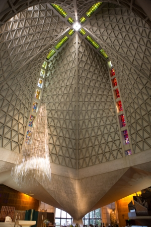 mystic place: Inside the modern Cathedral of Saint Mary of the Assumption, also known as Saint Marys Cathedral in San Francisco