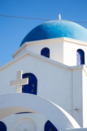 ano: Agios Ioanis Prodromos Church, Ano Mera, Pano Meria Village, Folegandros, Cyclades Islands. Gorgeous blue and white orthodox  church.   Stock Photo