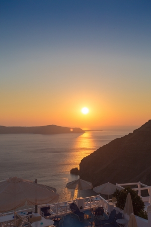 Beautiful sunset at the beach of Santorini in Greece, June, 25, 2013. photo