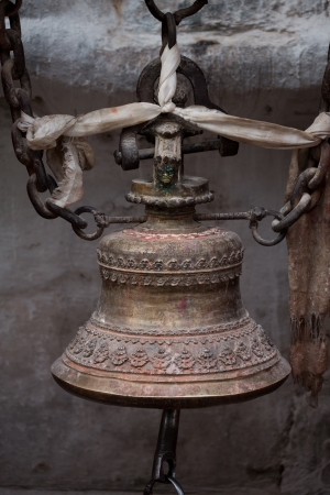 Close-up from a prayers bell in a temple Kathmandu, Nepal photo