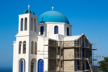 scaffolder: Agios Ioanis Prodromos Church, Ano Mera, Pano Meria Village, Folegandros, Cyclades Islands  Gorgeous blue and white orthodox  church   These churches are scattered across the tiny island, often in incredibly remote and uninhabited areas of the island  Gre