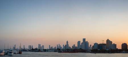 Bocagrande neighborhood with sunset, Cartagena De Indias (Colombia) Stock Photo