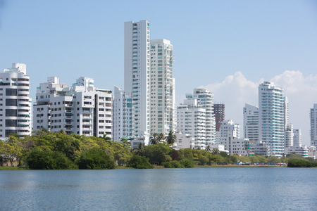 View of residential buildings in the new and modern area of Cartagena, Colombia