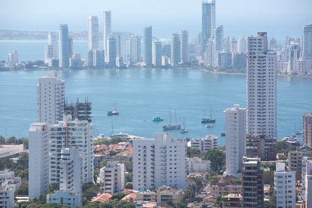 View of skyscrapers in the Bocagrande neighborhood of Cartagena, Colombia Stock Photo