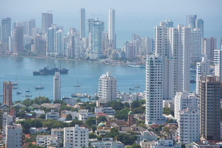 View of skyscrapers in the Bocagrande neighborhood of Cartagena, Colombia Stock Photo