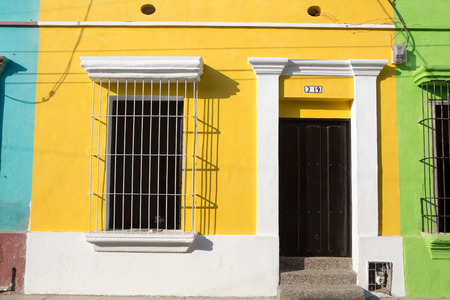 Colorful buildings in the historic center of Santa Marta, Colombia