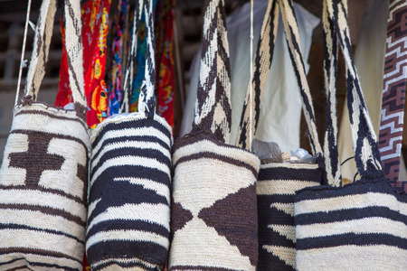 Souvenir bags for sale in Cartagena, Colombia. They are called mochilas and are typical of the Wayuu Indians