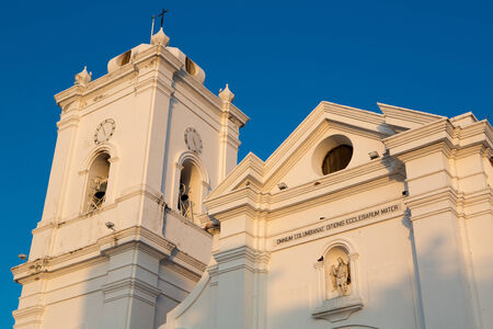 marta: Blue and clear sky with the white Cathedral of Santa Marta, Colombia