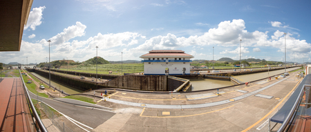 miraflores: Panorama of the Gates and basin of Miraflores Locks Panama Canal filling to raise a ship. Panama City, Panama 2014. Editorial