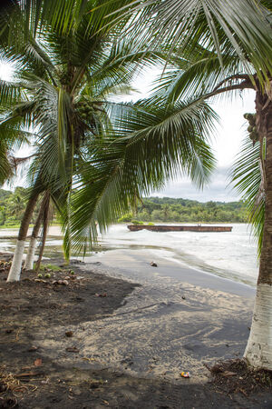 viejo: Empty beach in Puerto Viejo with cloudy weather, Caribbean coast, Costa Rica 2014.
