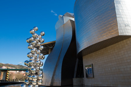 anish: BILBAO, SPAIN, MARCH 6: Sculpture 80 Balls Stainless steel, Indian artist Anish Kapoor, and located at the Guggenheim Museum Bilbao, Spain, on March 6, 2014. His name is The big tree