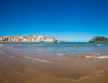 vizcaya: View of the beach of Lekeitio with clear blue sky, Vizcaya, Basque Country, Spain