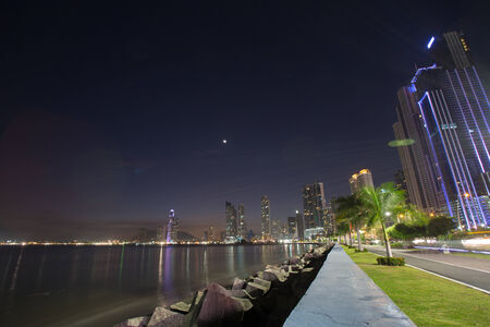Seafront avenue at night in Panama City with long time exposure.  photo