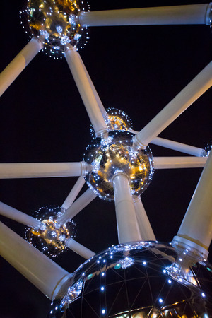 BRUSSELS, BELGIUM, DECEMBER 21: Atomium facade at night on December 21, 2013 in Brussels. Atomium is a 102m tall building, originally constructed for Expo 58.
