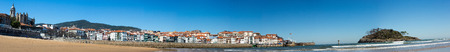 vizcaya: Panoramic View of the beach of Lekeitio with clear blue sky, Vizcaya, Basque Country, Spain Stock Photo