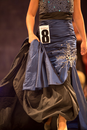 unrecognisable: Details of clothing and unrecognisable girls during a beauty fashion show in Brussels. Belgium Editorial