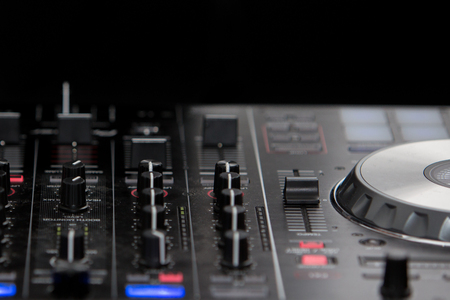 fader: Audio mixer mixing board fader and DJ MP3 player with speed variator