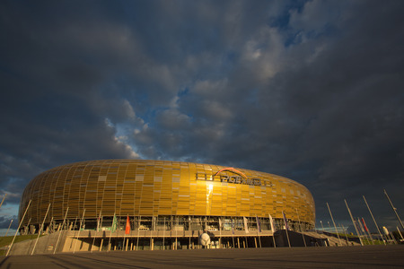 GDANSK, POLAND - SEPTEMBER 19  PGE Arena which is a newly built football stadium for Euro 2012 Championship  The stadium has the capacity of the stands for 43,615 spectators  September 19, 2013 in Gdansk, Poland